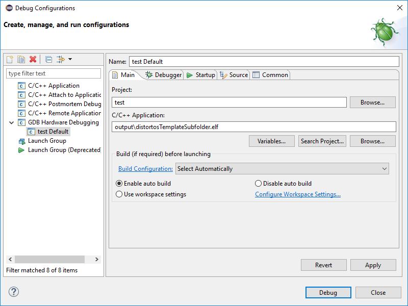 Eclipse debugging setup for ARM microcontrollers • distortos